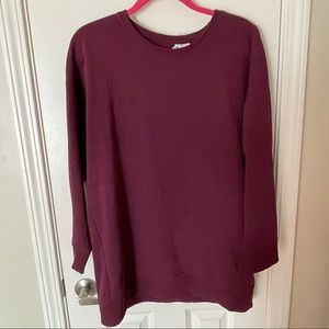 H&M Long Maroon Crewneck Sweatshirt